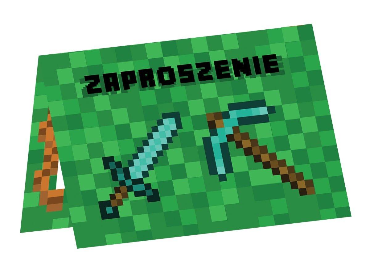 Invitation Card Pixels Minecraft 6 Pcs Party Supplies