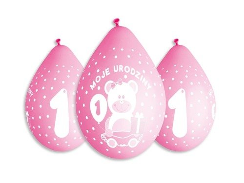1st Birthday Balloon Girls Moje urodziny - 30 cm - 5 pcs