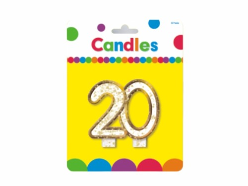20th Birthday Candle - 8 cm - 1 pc