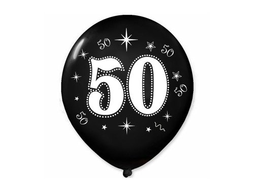50th Birthday Balloon - 30 cm - 5 pcs