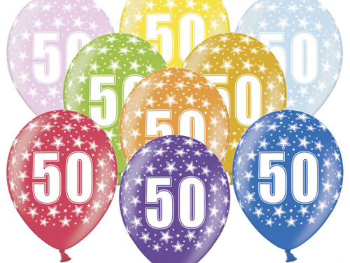 "Balloons Metallic Mix ""50th birthday"" - 38 cm - 5 pc"