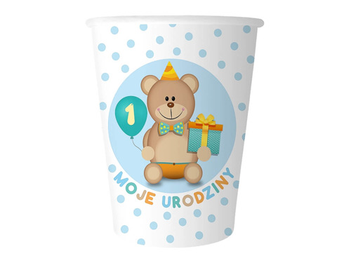 Boy's First Birthday paper cups - 270ml - 6 pcs