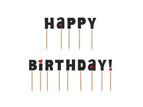 Cake and cupcake toppers - Happy Birthday! - 9.2 cm - 1 pack