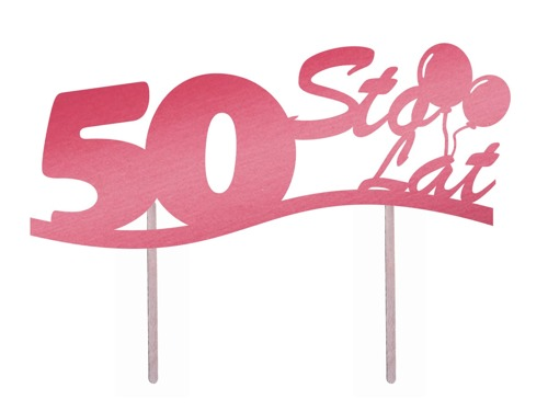 Cake topper 50 birthday pink - 1 pc
