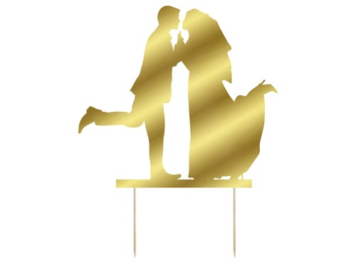 Cake topper, gold - 11x12 cm - 1 pc