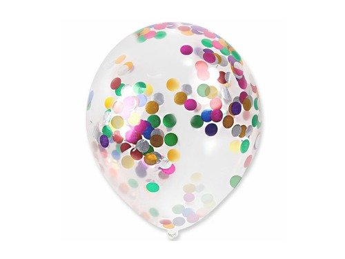 Clear Latex Balloon with confetti - 30 cm - 5 pcs