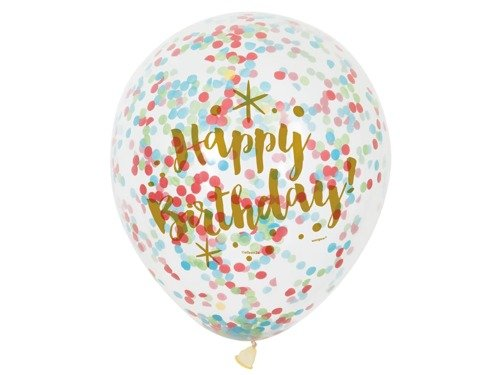 Clear Latex Happy Birthday Balloons with confetti - 30 cm - 6 pcs.