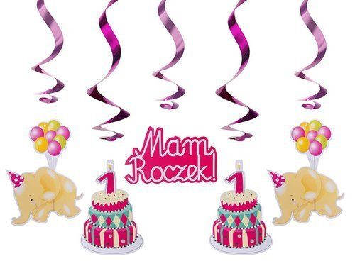 "Happy 1st birthday swirl ""Mam roczek"" pink hanging decoration, 60cm, 5 pcs"