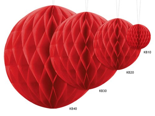 Honeycomb Ball red - 20 cm - 1 pc