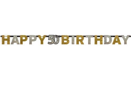 Letter Banner 50 Sparkling Celebration - Silver & Gold Prismatic - 240 cm - 1 pc