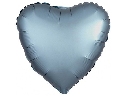 Steel blue satin Heart Foil Balloon - 43 cm - 1 pc
