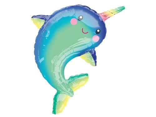 Supershape Happy Narwhal Foil Balloon 73cm x 99cm