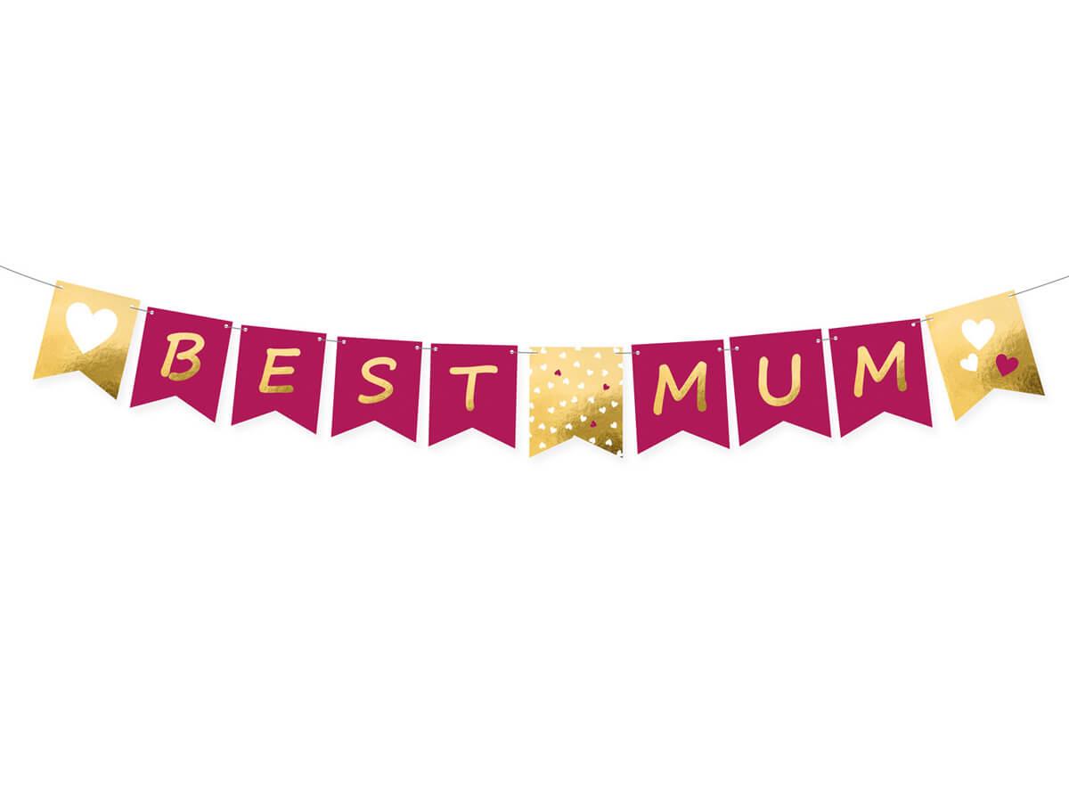 Baner Z Nadrukiem Best Mum Na Dzień Matki 15 Cm X 180 Cm